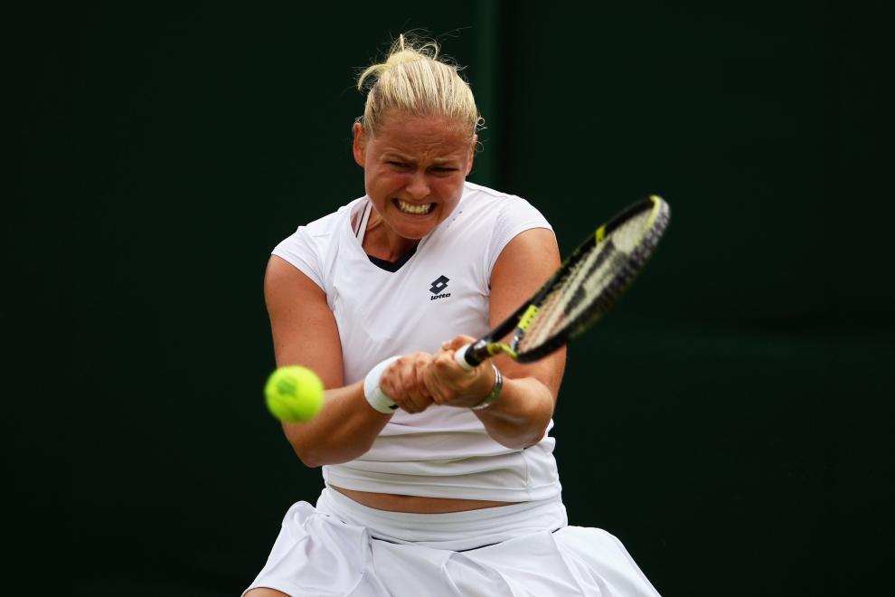14. LONDYN, WIMBLEDON, ANGLIA: Anna-Lena Groenefeld (Niemcy) w meczu z Sania Mirza (Indie). (Foto: Julian Finney/Getty Images)