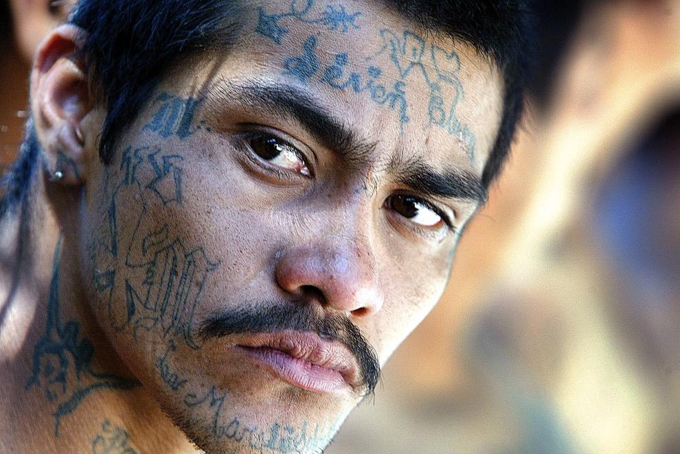 "19. SALWADOR: Aresztowany członek ""Mara Salvatrucha"". AFP PHOTO/Roberto ESCOBAR"