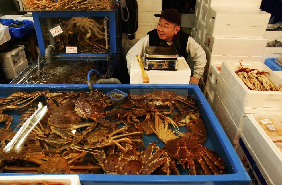 22. TOKIO - TARG RYBNY TSUKIJI: Sprzedawca czeka na klientów siedząc między pojemnikami z krabami. (Foto: Cameron Spencer/Getty Images)