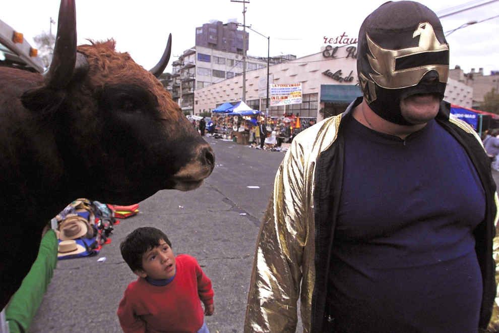 """26. MEXICO CITY, MEKSYK: Zapaśnik i obrońca praw zwierząt o przydomku """"Super Animal"""" (ang. Super Zwierzę) protestuje przeciwko rozpoczęciu sezonu walk byków w Mexico City. AFP PHOTO/Jorge UZON"""
