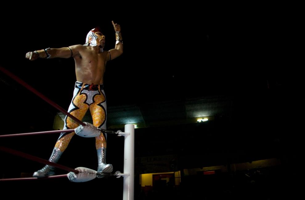 5. PUEBLO, MEKSYK: Luchador stoi wspięty na linach ringu. (Foto: Paula Bronstein/Getty Images)