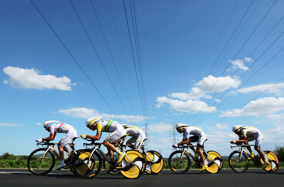 12. FRANCJA, Montpellier: Team Columbia w akcji, podczas czwartego etapu Tour de France. (Foto: Bryn Lennon/Getty Images)
