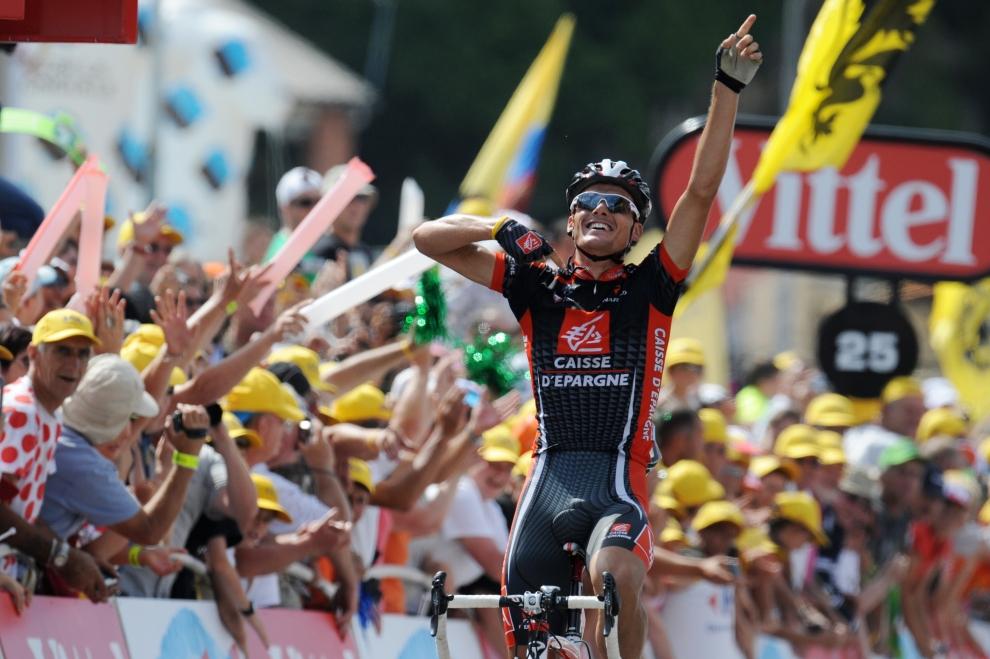 27. FRANCJA, Saint-Girons: Luis Leon Sanchez (Hiszpania) cieszy się ze zwycięstwa w ósmym etapie Tour de France. AFP PHOTO PATRICK HERTZOG