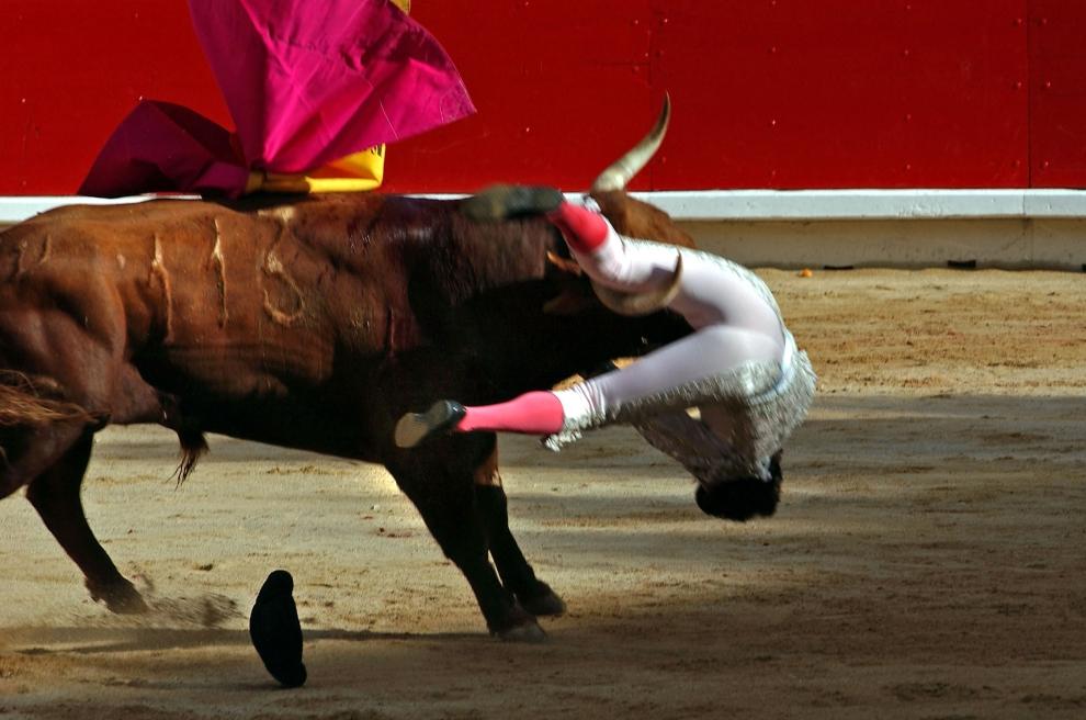 24. HISZPANIA, Pampeluna: Matador Fernando Robleno podrzucany przez byka podczas corridy. (Foto: Ami Vitale/Getty Images)