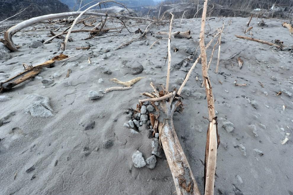 6. INDONEZJA, Kali Adem, 26 października 2010: Zbocze Merapi zniszczone przez erupcję. AFP PHOTO / ADEK BERRY