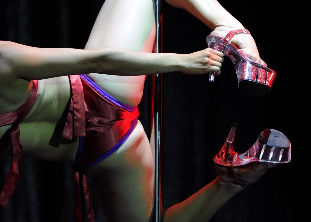 """21. ARGENTYNA, Buenos Aires, 6 listopada 2010: Pretendentka do tytułu """"Miss Ameryki Południowej w tańcu na rurze"""" podczas występu. AFP PHOTO / Juan Mabromata"""