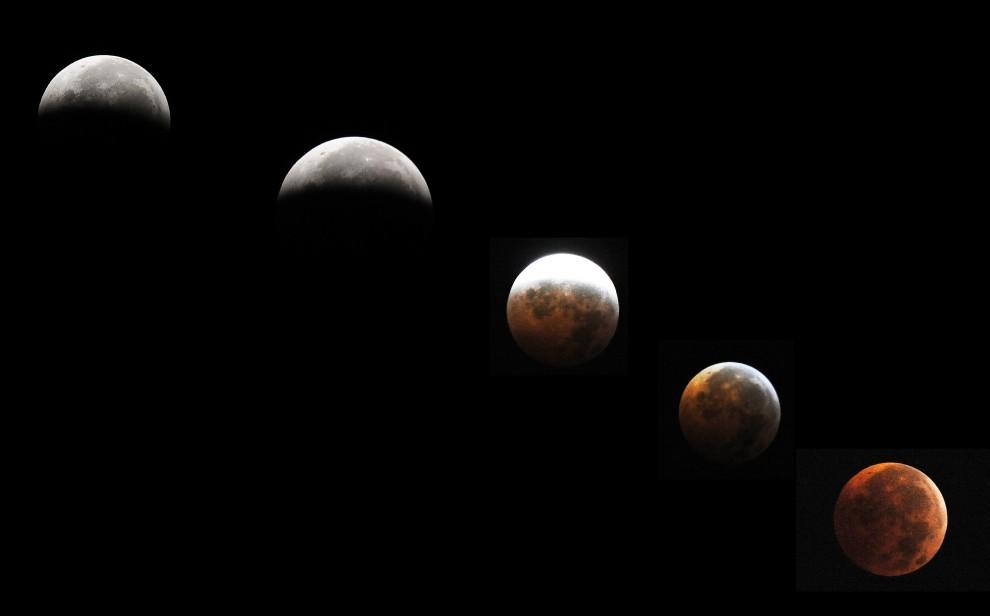 67. USA, Silver Spring, 21 grudnia 2010: Kombinacja faz zaćmienia księżyca podczas przesilenia. AFP PHOTO/Jewel Samad