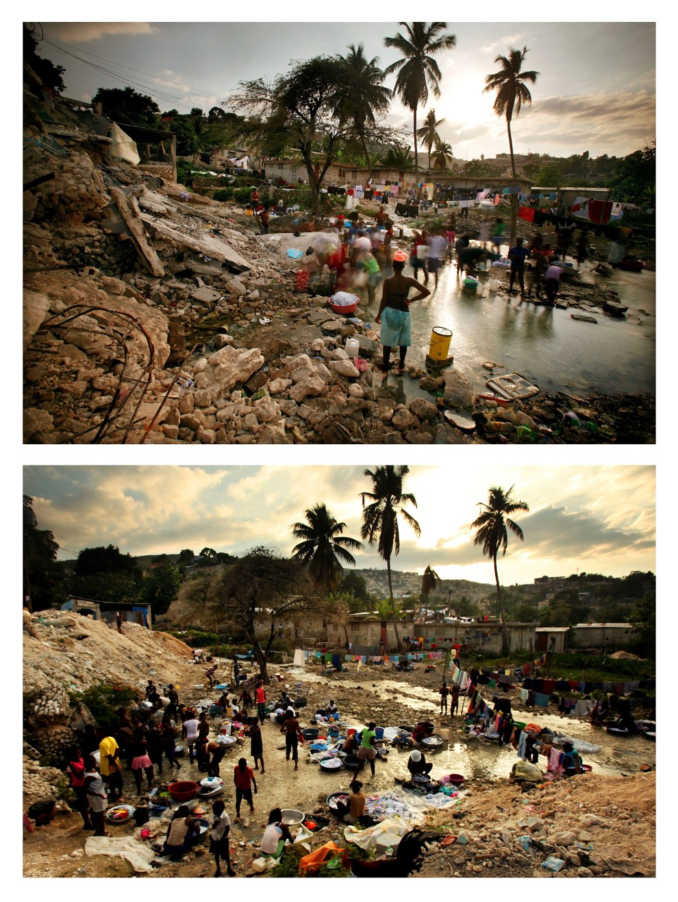 14. i 15.  HAITI, Port-au-Prince, zdjęcie pierwsze z 9 lutego 2010: Mieszkańcy Port-au-Prince kąpią się w strumieniu.  Zdjęcie drugie z 12 stycznia 2011: To samo miejsce - : Mieszkańcy Port-au-Prince kąpią się i robią pranie w strumieniu. (Foto: Mario Tama/Getty Images)