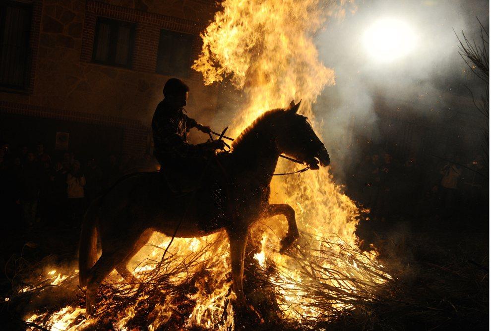 15. HISZPANIA, San Bartolome de Pinares, 16 stycznia 2011: Mężczyzna na koniu stara się przeskoczyć nad ogniskiem. W ten sposób obchodzone są uroczystości ku   czci św. Antoniego – patrona zwierząt. AFP PHOTO/ DOMINIQUE FAGET