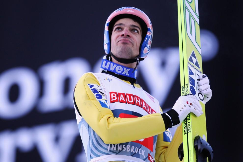 16. AUSTRIA, Innsbruck, 3 stycznia 2011: Rreakcja Andreasa Koflera po drugim skoku w zawodach. (Foto: Alex Grimm/Bongarts/Getty Images)