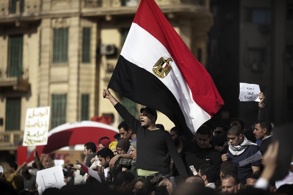 1. EGIPT, Kair, 30 stycznia 2011: Protestujący zebrani na centralnym placu w Kairze. AFP PHOTO/MARCO LONGARI