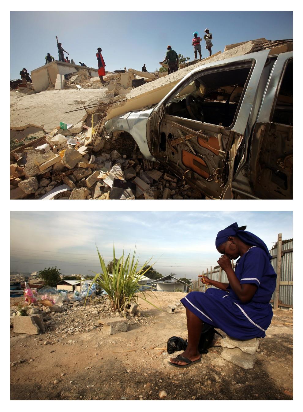 2. i 3. HAITI, Port-au-Prince, zdjęcie pierwsze z 29 stycznia 2010: Haitańczycy przeszukują gruzy szkoły katolickiej (L'ecole Notre Dame du Perpetual   Secours) Zdjęcie drugie z 8 stycznia 2011: To samo miejsce – Mary Claude Felix modli się za ofiary trzęśienia ziemi. (Foto: Mario Tama/Getty Images)