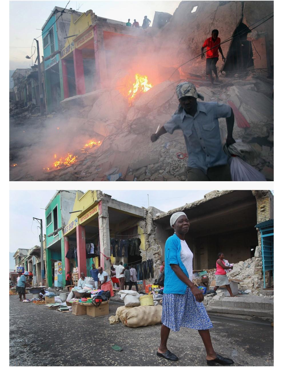 4. i 5.  HAITI, Port-au-Prince, zdjęcie pierwsze z 17 stycznia 2010: Szabrownicy na gruzach zniszczonego budynku.  Zdjęcie drugie z 9 stycznia 2011: To samo miejsce – Kobieta przechodzi obok zniszczonego w wyniku trzęsienia ziemi budynku. (Foto: Joe Raedle/Getty Images)