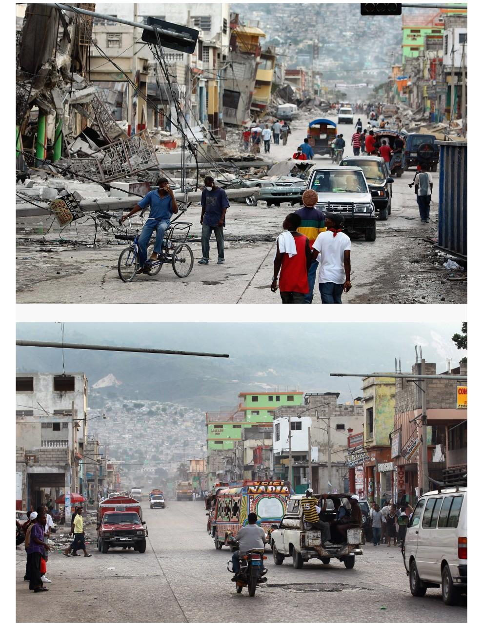 6. i 7.  HAITI, Port-au-Prince, zdjęcie pierwsze z 16 stycznia 2010: Mieszkańcy na ulicy zniszczonego Port-au-Prince.  Zdjęcie drugie z 12 stycznia 2011: To samo miejsce – Ulica w Port-au-Prince w rok po trzęsieniu ziemi. (Foto: Joe Raedle/Getty Images)