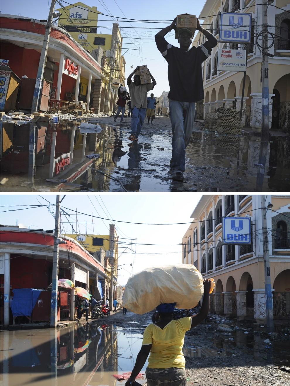 8. i 9.  HAITI, Port-au-Prince, zdjęcie pierwsze z 15 stycznia 2010: Mieszkańcy stolicy noszą zrabowaną żywność. AFP PHOTO/Olivier Laban-Mattei Zdjęcie drugie z 6 stycznia 2011: To samo miejsce – Kobieta przechodzi ulicą w Port-au-Prince. AFP PHOTO /Thony Belizaire