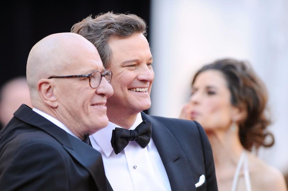 10. USA, Hollywood, 27 lutego 2011: Geoffrey Rush (po lewej) i Colin Firth (po prawej) pozują do zdjęć na czerwonym dywanie. (Foto: Jason Merritt/Getty Images)