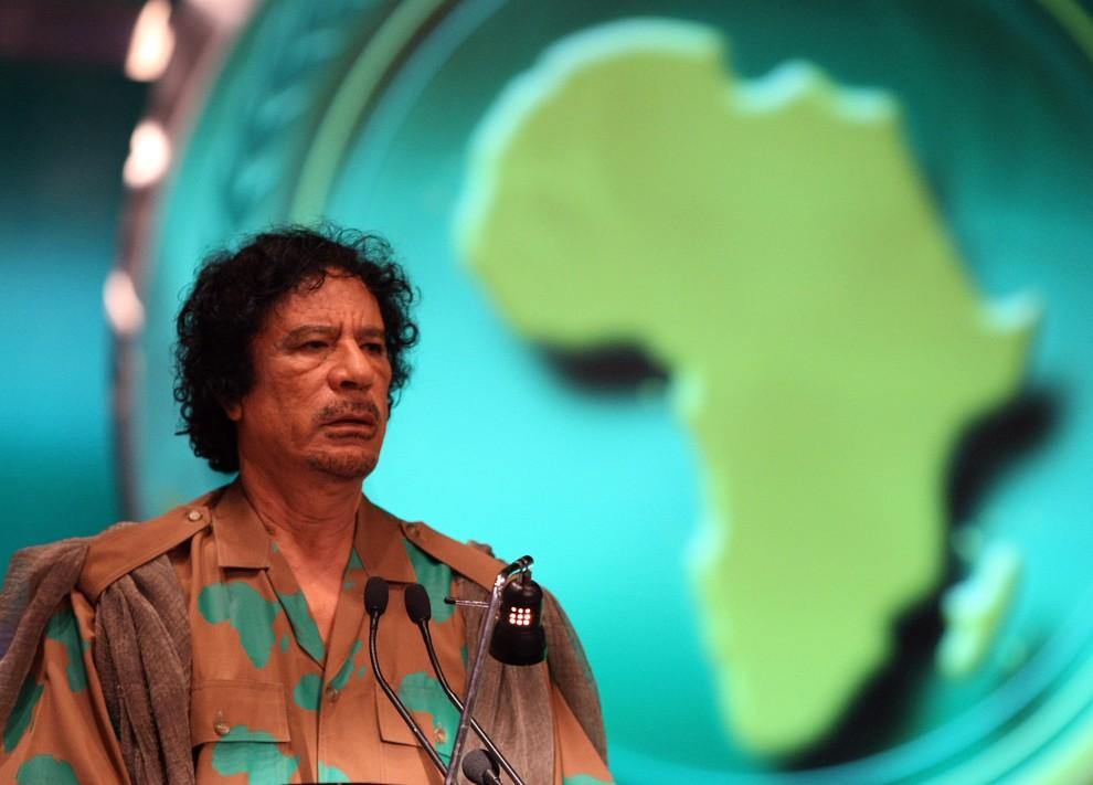 14. EGIPT, Szarm el-Szejk, 1 lipca 2008: Muammar al-Kaddafi na posiedzeniu Unii Afrykańskiej. AFP PHOTO/CRIS BOURONCLE