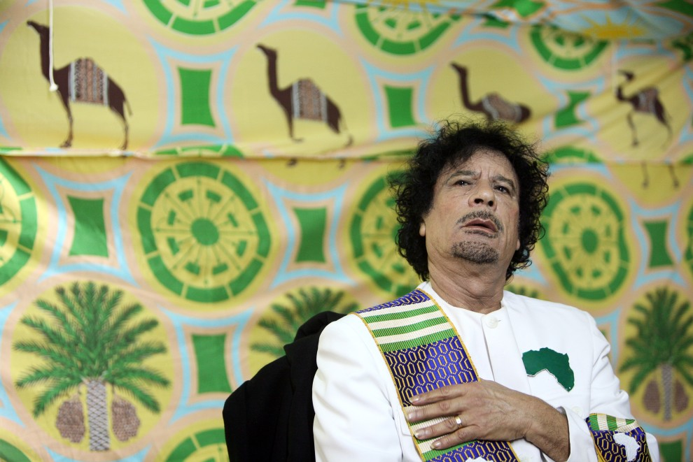 16. UKRAINA, Kijów, 6 listopada 2008: Muammar al-Kaddafi podczas konferencji prasowej w trakcie wizyty w Kijowie. AFP PHOTO/GENIA SAVILOV