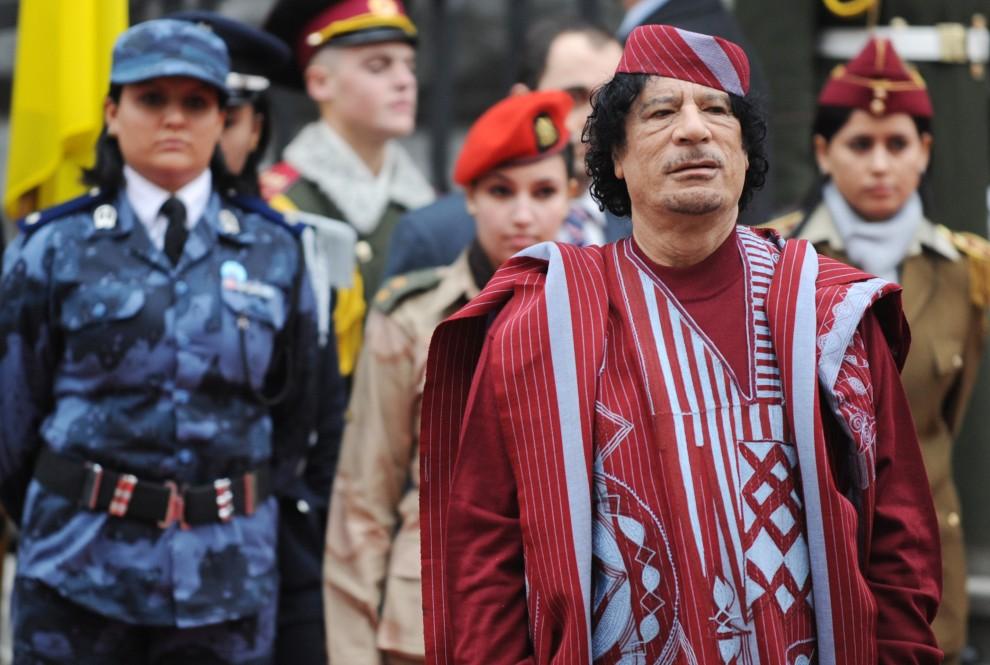 27. UKRAINA, Kijów, 4 listopada 2008: Muammar al-Kaddafi witany w Kijowie. AFP PHOTO/ SERGEI SUPINSKY