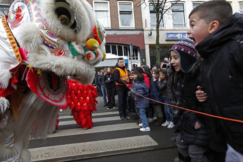31. HOLANDIA, Rotterdam, 3 lutego 2011: Dzieci przyglądają się kostiumom uczestników parady. AFP PHOTO / ANOEK DE GROOT