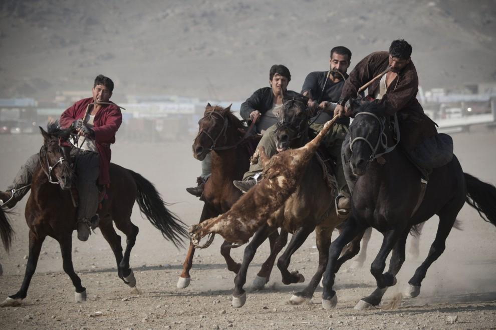 4. AFGANISTAN, Kabul, 21 stycznia 2011: Jeźdźcy w trakcie rozgrywki buzkaszi. (Foto: Majid Saeedi/Getty Images)
