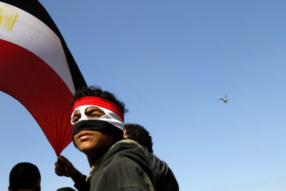 6. EGIPT, Kair, 2 lutego 2011: Demonstracja przeciwników prezydenta Egiptu. AFP PHOTO/PATRICK BAZ