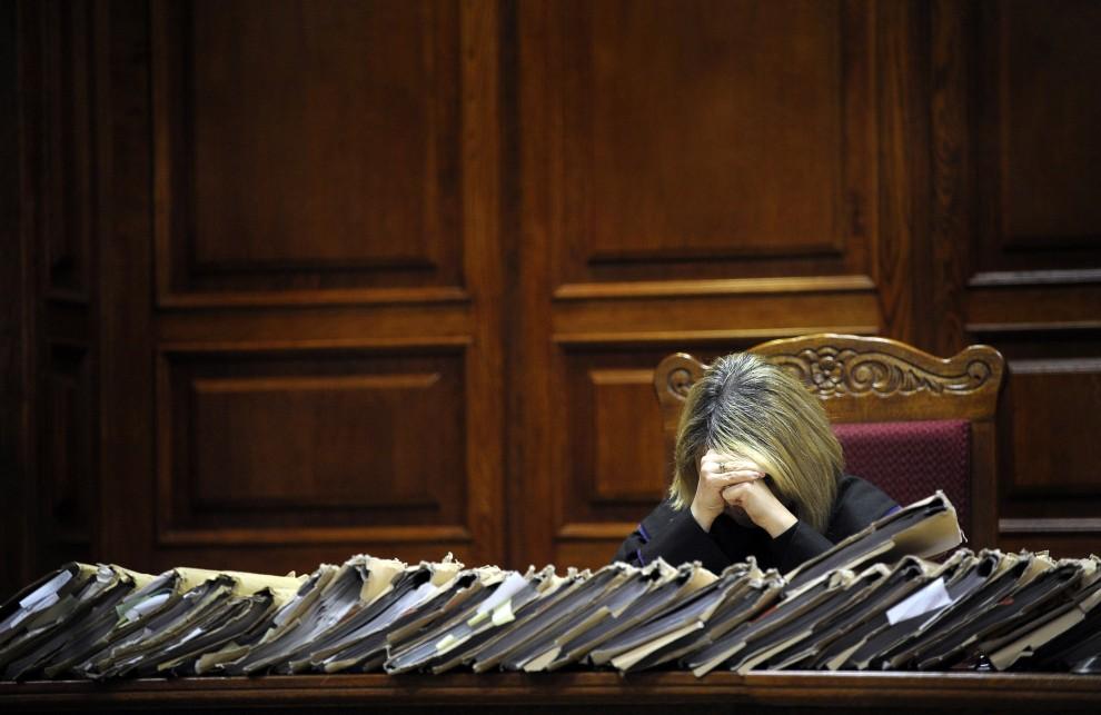 39. POLSKA, Warszawa, 7 marca 2011: Sędzia prowadząca posiedzenie w sprawie przeciw autorom stanu wojennego. AFP PHOTO / JANEK SKARZYNSKI