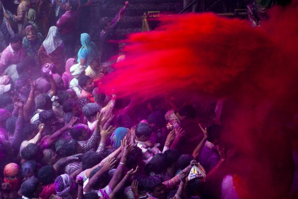 3. INDIE, Vrindavan, 21 marca 2011: Kolorowy proszek rozsypywany nad głowami wiernych. (Foto: Majid Saeedi/Getty Images)