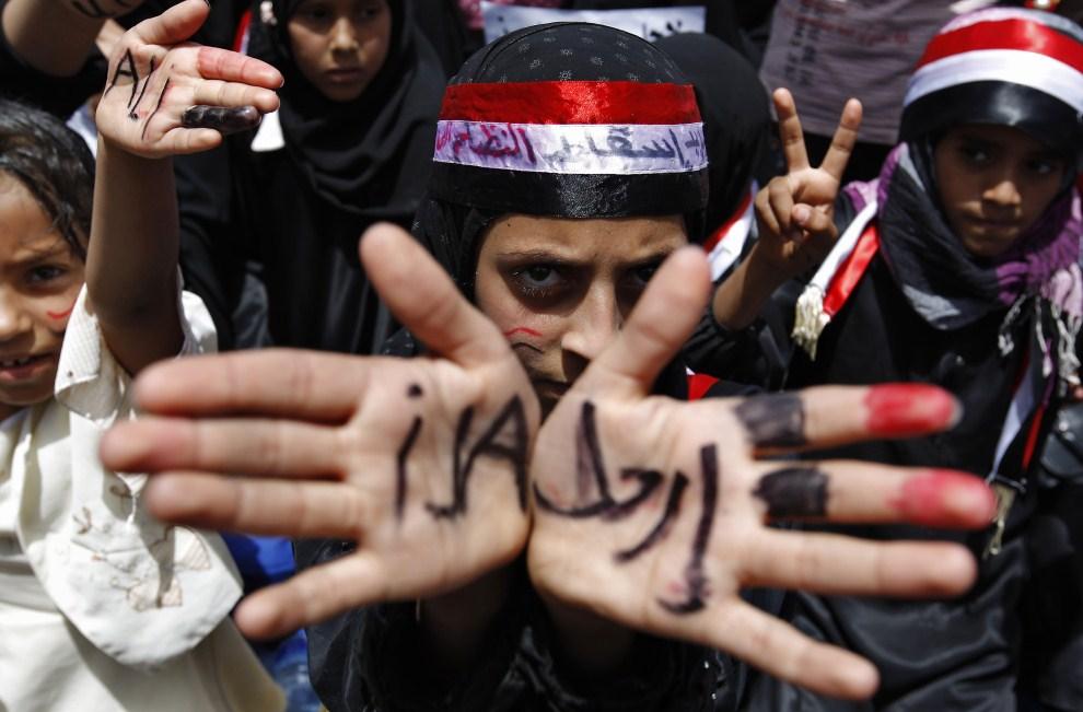 12. JEMEN, Sana, 31 marca 2011: Antyrządowe protest w stolicy Jemenu. AFP PHOTO/AHMAD GHARABLI