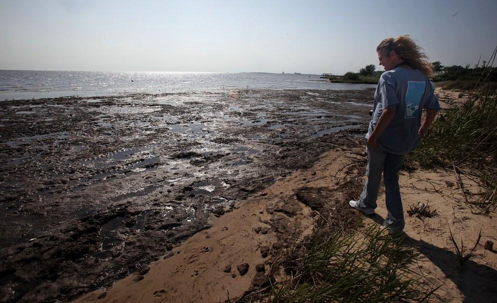14. USA, Ocean Springs, 17 kwietnia 2011: Lorrie Williams przygląda się moczarom zniszczonym przez ropę. Mario Tama/Getty Images/AFP