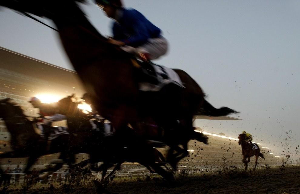 16. ZJEDNOCZONE EMIRATY ARABSKIE: Dubaj, 26 marca 2011: Pędzące konie na torze Meydan. AFP PHOTO/MARWAN NAAMANI