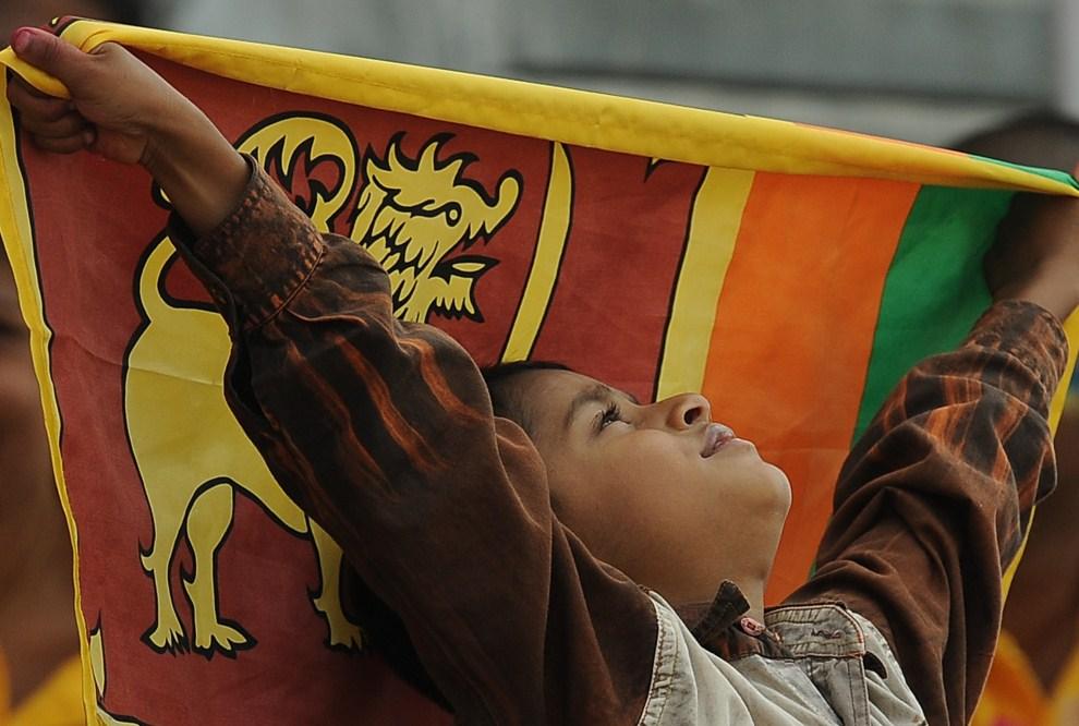 19. SRI LANKA, Pallekele, 10 marca 2011: Kibic reprezentacji Sri Lanki z flagą narodową. AFP PHOTO/Lakruwan WANNIARACHCHI