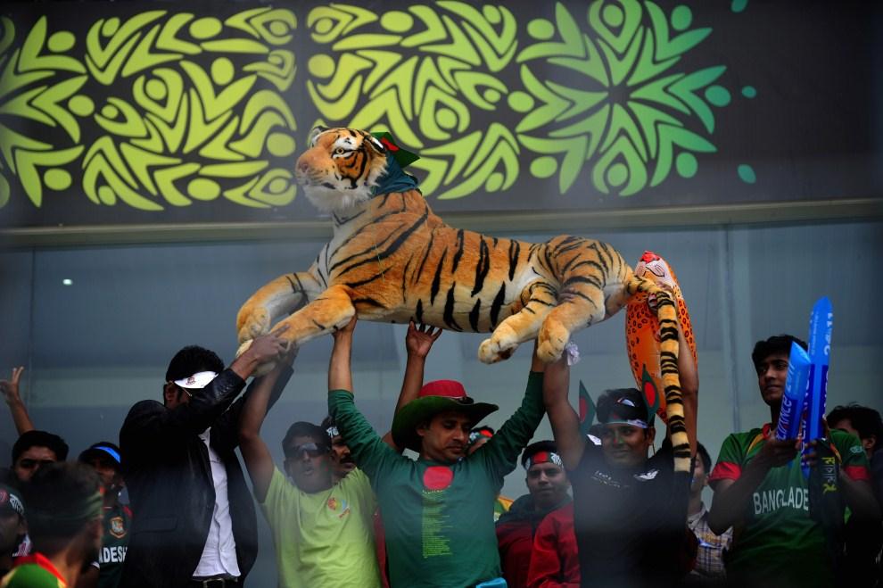 20. BANGLADESZ, Dhaka, 19 lutego 2011: Kibice reprezentacji Bangladeszu bawią się na trybunach. AFP PHOTO/Munir uz ZAMAN