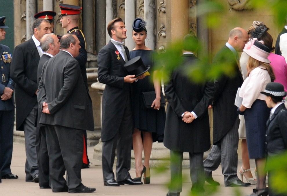 29. WIELKA BRYTANIA, Londyn, 29 kwietnia 2011: David Beckham z żoną Victorią zaproszeni na uroczystość zaślubin. AFP PHOTO / BEN STANSALL