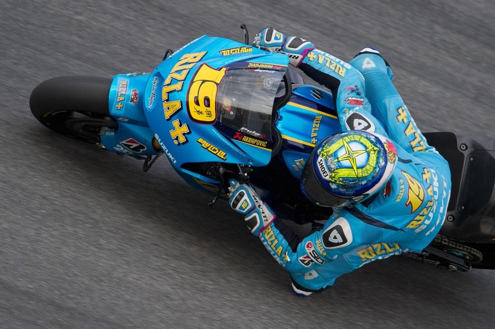 30. MALEZJA, Kuala Lumpur, 22 lutego 2011: Alvaro Bautista (Rizla Suzuki MotoGP) na torze Sepang. (Foto: Mirco Lazzari gp/Getty Images)