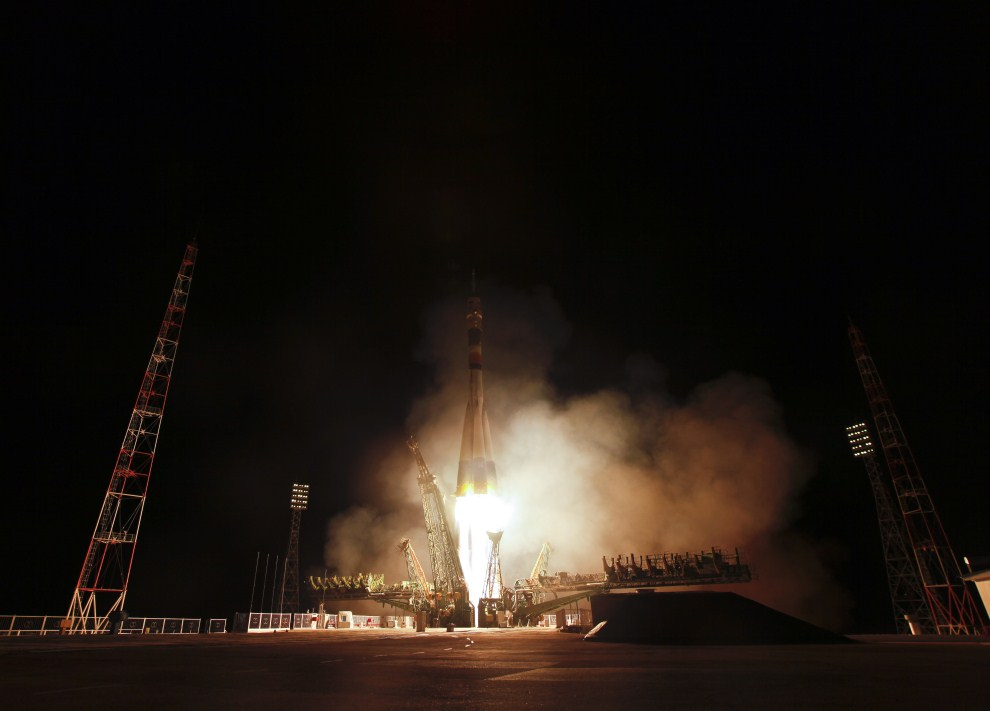 31. KAZACHSTAN, Bajkonur, 5 kwietnia 2011: Start misji Sojuz TMA-21 z kosmodromu Bajkonur. (Foto: Carla Cioffi/NASA via Getty Images)