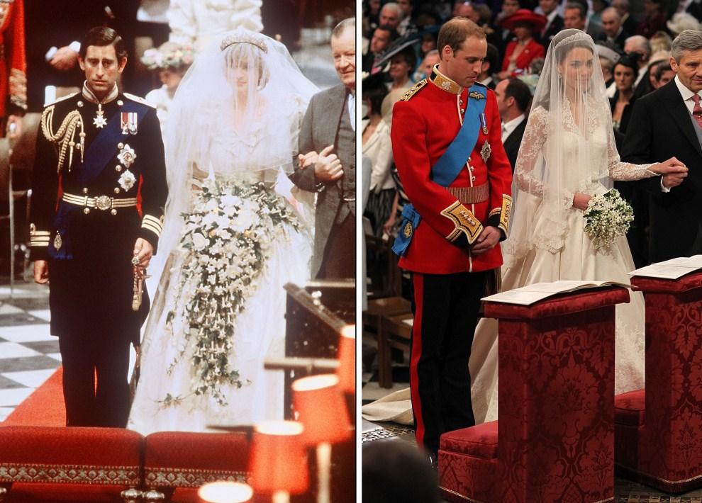 37. Zdjęcie po lewej: WIELKA BRYTNIA, Londyn, 29 lipca 1981: Ślub księcia Karola z Dianą Frances Spencer. Zdjęcie po prawej: WIELKA BRYTNIA, Londyn, 29 kwietnia 2011:  Kate Middleton i książę William w dniu ślubu.AFP PHOTO