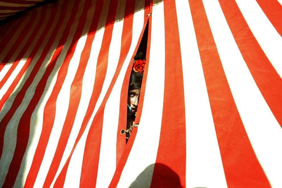 """24. HISZPANIA, Sewilla, 5 maja 2011: Dziewczyna wyglądająca z wnętrza namiotu na """"Feria de abril de Sevilla"""". AFP PHOTO/ CRISTINA QUICLER"""