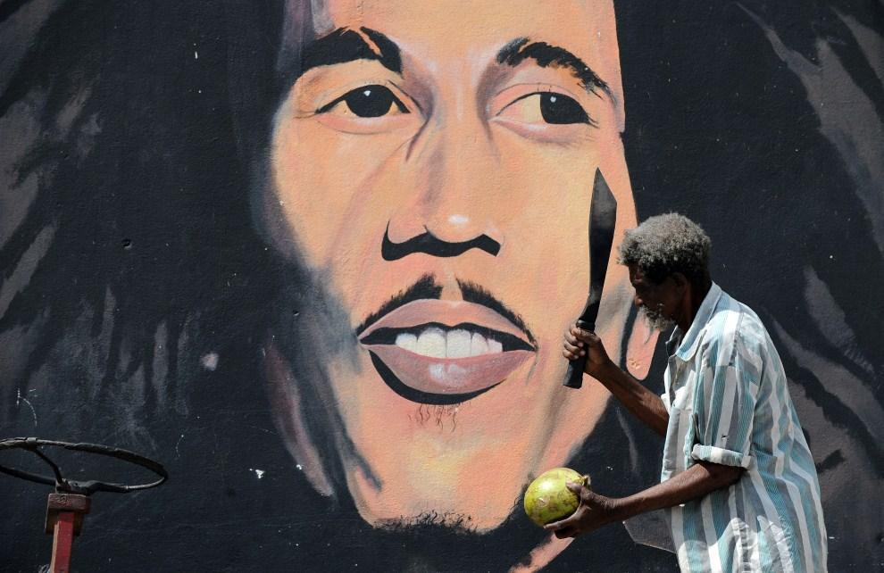 25. JAMAJKA, Kingston, 8 lutego 2009: Sprzedawca soku kokosowego na ulicy w Kingston. AFP PHOTO/Jewel SAMAD