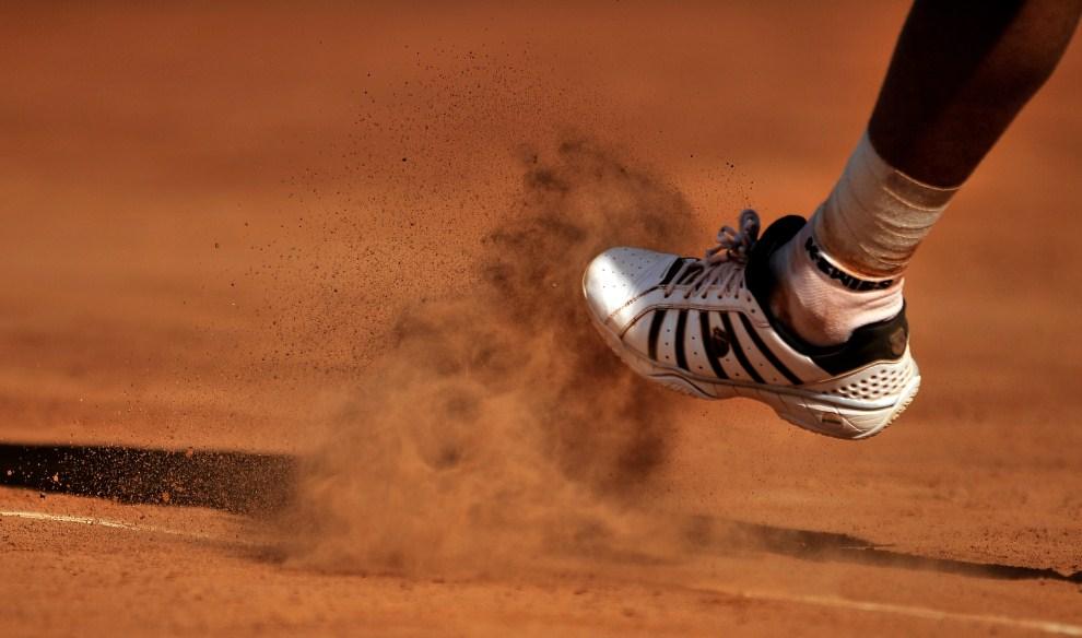 31. WŁOCHY, Rzym, 9 maja 2011: Mardy Fish podczas meczu z Santiago Giraldo na turnieju ATP Rome Open. AFP PHOTO / Filippo MONTEFORTE