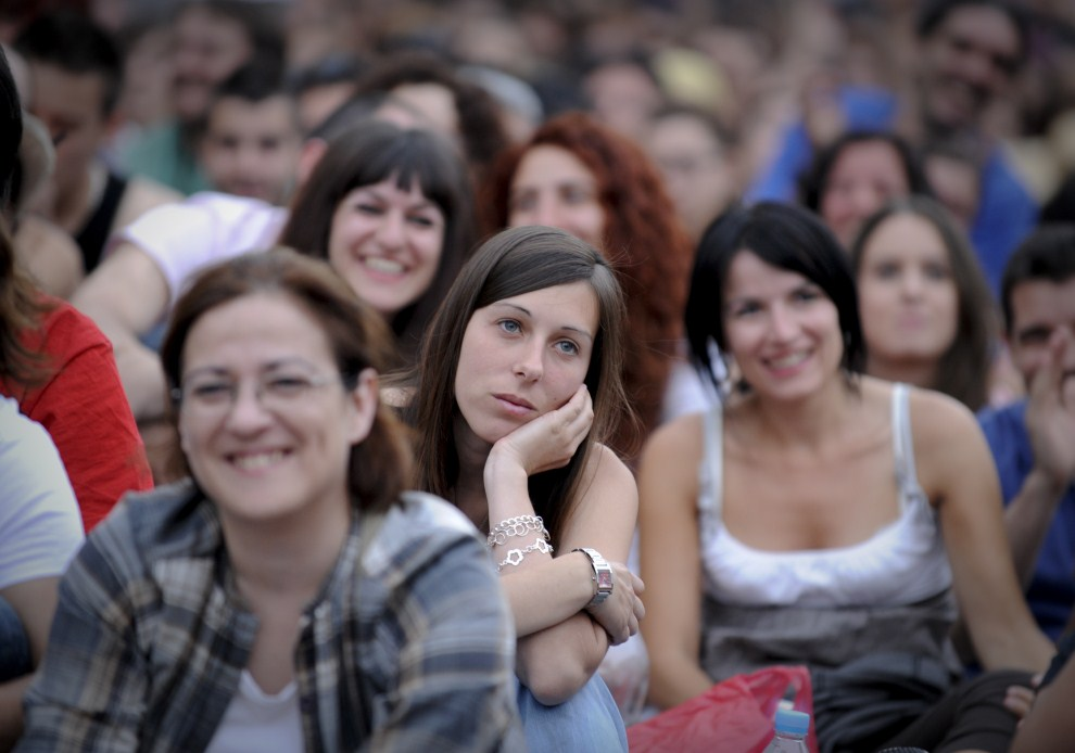 7. HISZPANIA, Madryt, 22 maja 2011: Uczestnicy protestów domagający się zmian w obliczy kryzysu ekonomicznego. AFP PHOTO / PEDRO ARMESTRE