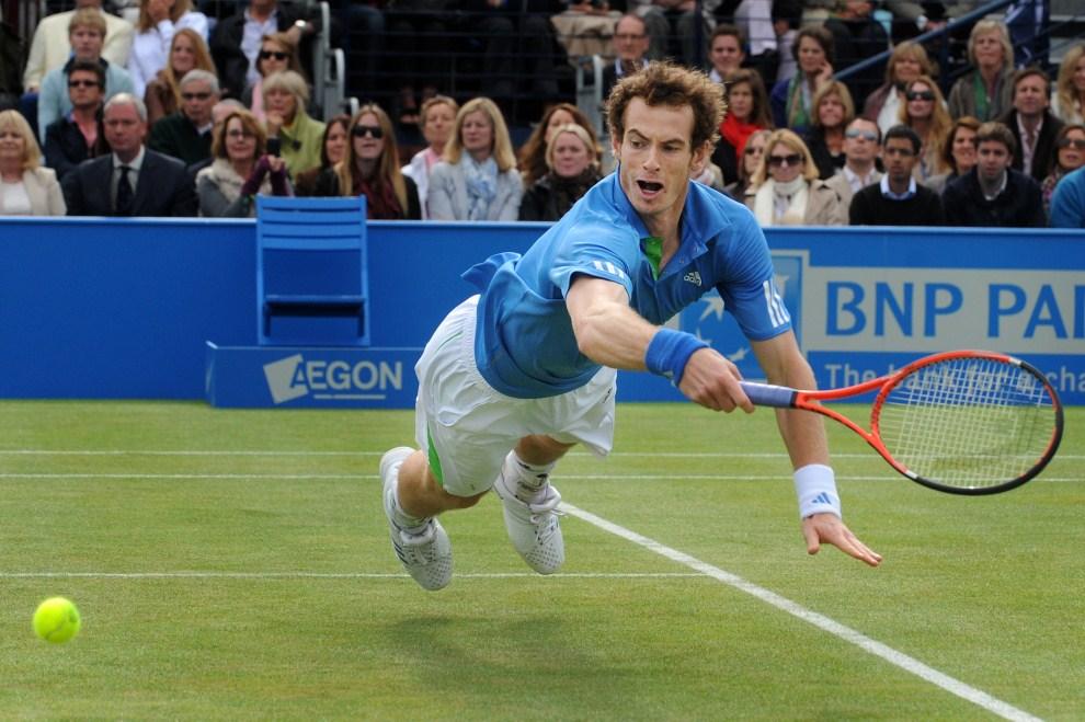 10. WIELKA BRYTANIA, Londyn, 9 czerwca 2011: Andy Murray stara się odebrać piłkę odbitą przez Janko Tipsarevicia. AFP PHOTO/ BEN STANSALL