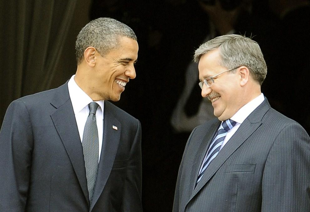 21. POLSKA, Warszawa, 28 maja 2011: Barack Obama podczas spotkania z Bronisławem Komorowskim . AFP PHOTO / JANEK SKARZYNSKI