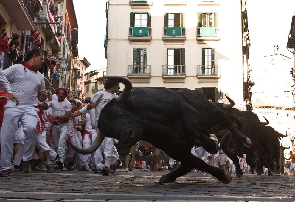 11. HISZPANIA, Pampeluna, 8 lipca 2011: Upadający byk podczas trzeciego dnia obchodów Sanfermines. (Foto: Denis Doyle/Getty Images)