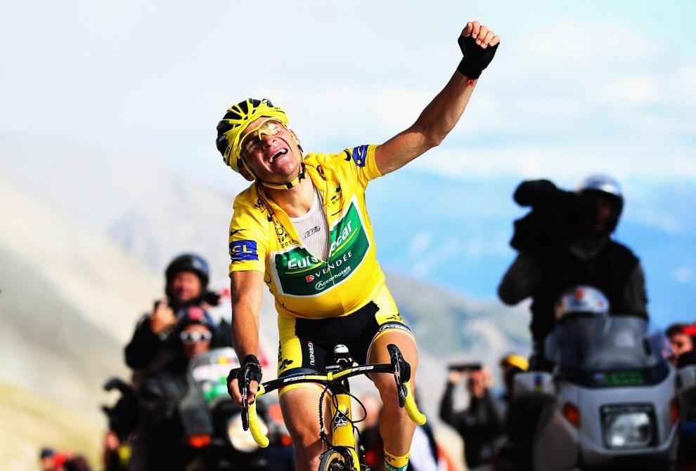 39. FRANCJA, Galibier, 21 lipca 2011: Thomas Voeckler – zwycięzca osiemnastego etapu Tour de France. (Foto: Bryn Lennon/Getty Images)
