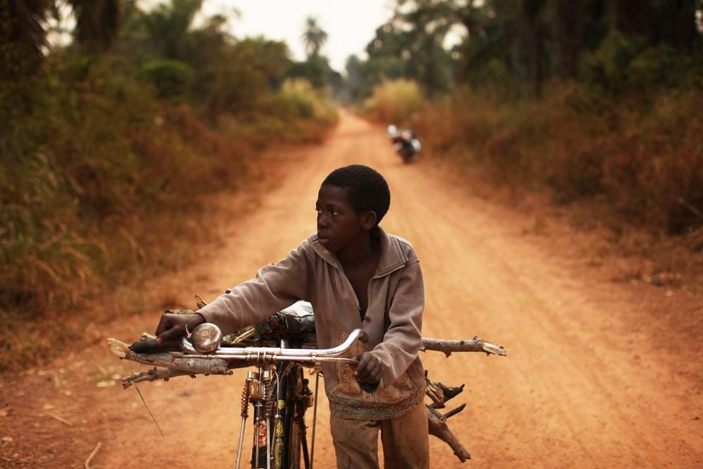 5. SUDAN, Yambio, 15 stycznia 2011: Chłopiec przewozi na rowerze drewno na opał. (Foto: Spencer Platt/Getty Images)