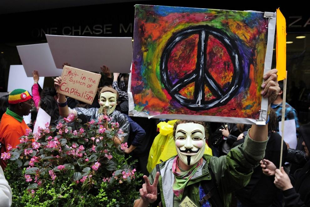 7.USA, Nowy Jork, 12 października 2011: Demonstracja przy Wall Street w Nowym Jorku. AFP PHOTO/Emmanuel Dunand