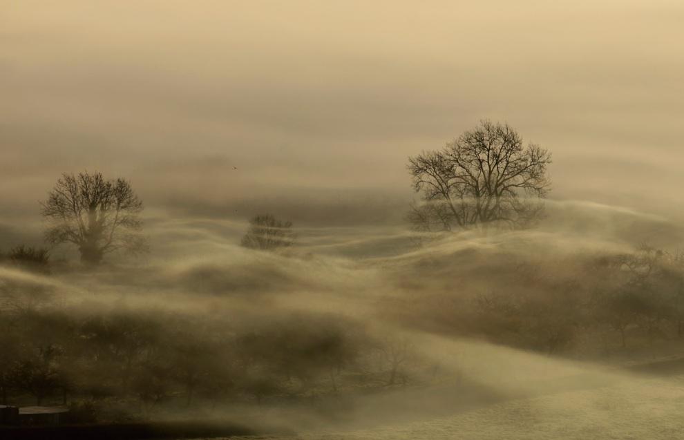 19.WIELKA BRYTANIA, Glastonbury, 13 stycznia 2012: Mgła nad polami w Glastonbury. (Foto: Matt Cardy/Getty Images)