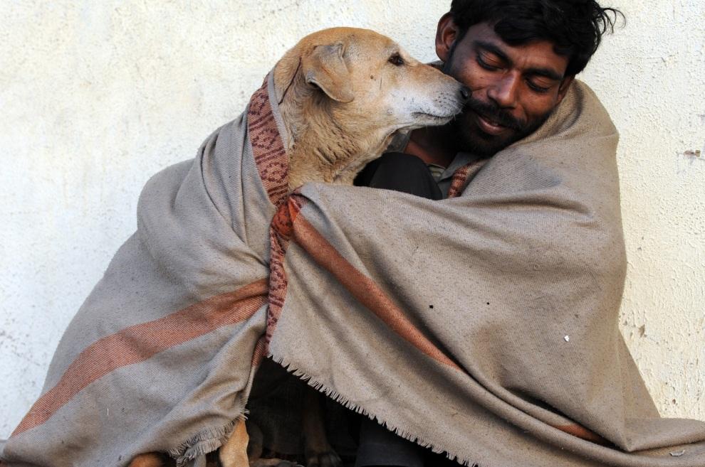 4.INDIE, Ahmedabad, 19 stycznia 2012: Mężczyzna dzieli koc z psem. W wyniku fal zimna nawiedzających tę część Indii, z wychłodzenia zmarło 165 osób. AFP PHOTO / Sam PANTHAKY