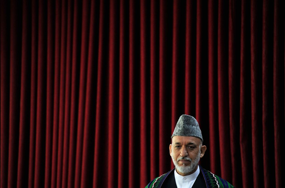 26.AFGANISTAN, Kabul, 18 lipca 2012: Prezydent Hamid Karzai w trakcie przemówienia podczas inauguracji kongresu kobiet-sędziów. AFP PHOTO/ SHAH Marai